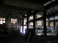 The interior of the abandoned Edgewood Warehouse facility is in disrepair.