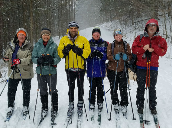happy cross-country skiiers