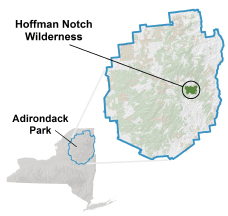 Map depicting the location of Hoffman Notch Wilderness