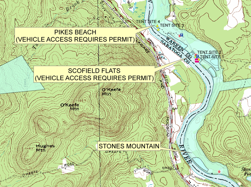 Map of Stones Mountain/Pike's Beach/Scofield Flats Area of HRSMA