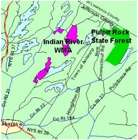 Map of Pulpit Rock State Forest