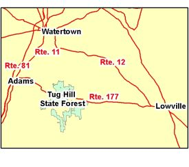 Map of Tug Hill State Forest