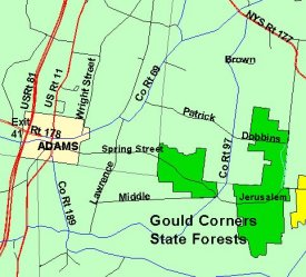 Map of Gould Corners State Forest