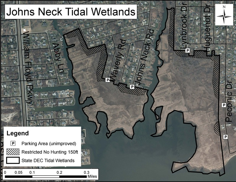 Map of Johns Neck State Tidal Wetlands