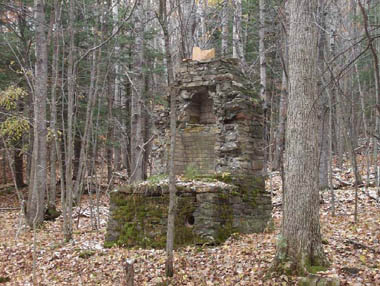 Remains of stone fireplace at Birdsall CCC Camp, S-117