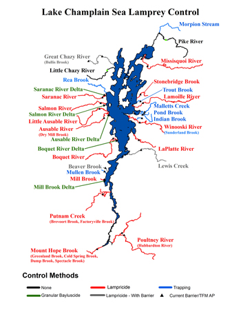 small map showing the different methods employed to control Lake Champlain sea lamprey with different color codes