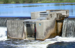 Permanent lamprey trap built into a dam on a river.