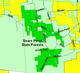 Map of Sears Pond State Forest