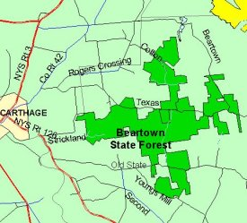 Map of Beartown State Forest