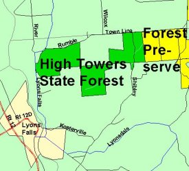 Map of High Towers State Forest
