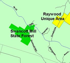 Map of Swancott Mill State Forest