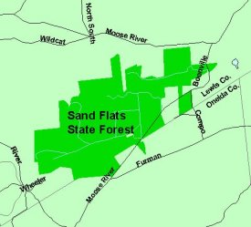 Map of Sand Flats State Forest