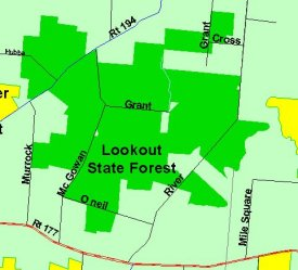 Map of Lookout State Forest