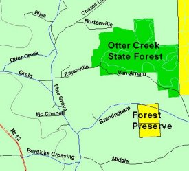Map of Otter Creek State Forest