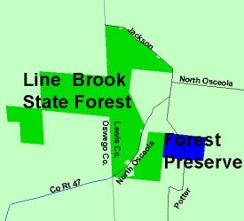 Map of Line Brook State Forest