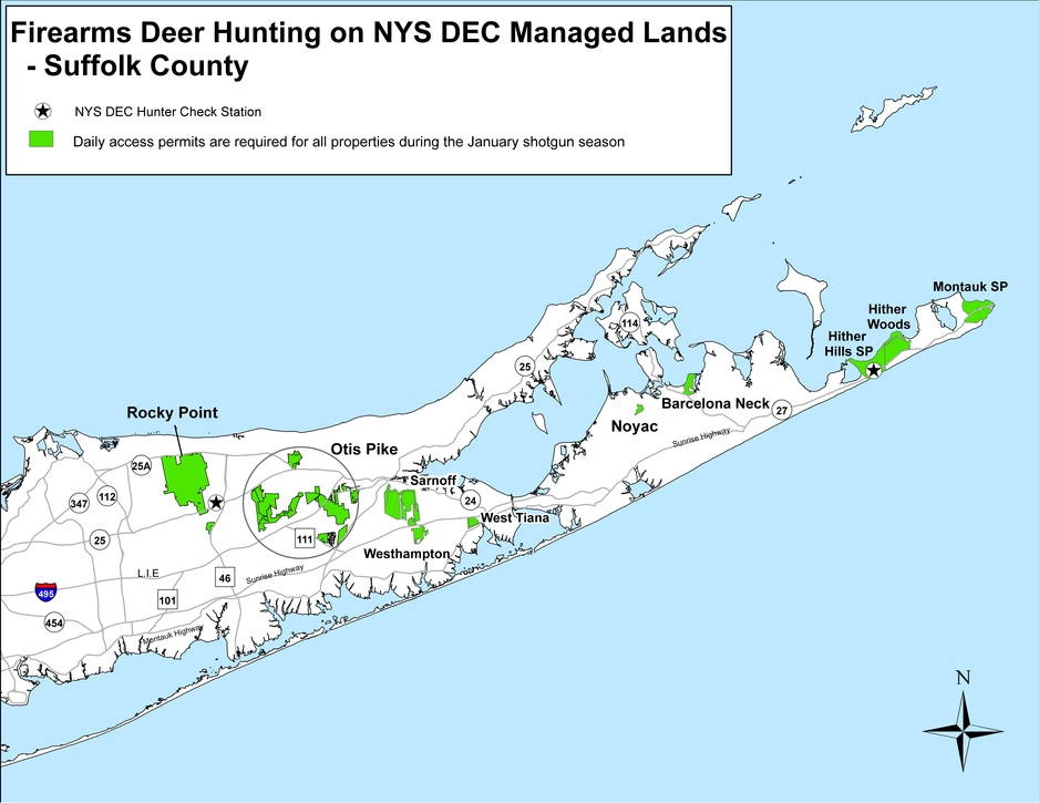 January firearms deer hunting season in suffolk county for Nysdec fishing regulations