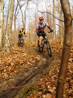 mountain bikers s on a trail in Downerville
