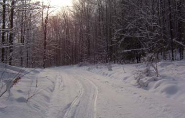 Snowmobile Trail at North Harmony State Forest at sunset