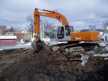 Excavating contaminated soil