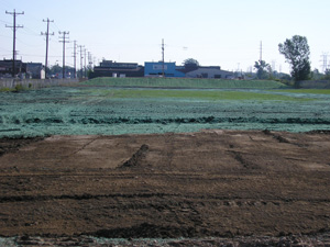 Excavated areas were backfilled with clean material