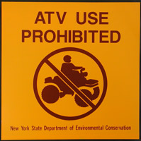 ATV use prohibited sign