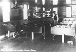 Historic photo of inside of Bemus Point Hatchery, circa 1908