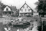 Historic photo of outside Bemus Point Hatchery, circa 1918