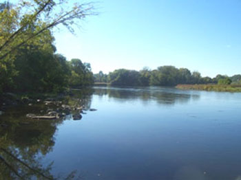 View of the Mohawk River from Plantation Island