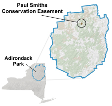 Maps depicting location of Paul Smiths College Conservation Easement Lands in the Adirondack Park