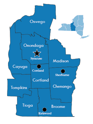 Map of Counties of DEC Region 7
