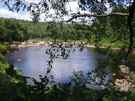 a view of Remsen Falls on the Moose River from the picnic site