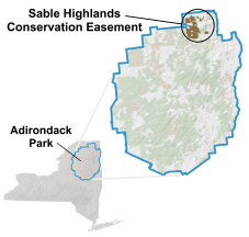 Maps depicting location of the Sable Highlands Conservation Easement Lands in the Adirondack Park