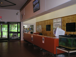 The interior of the Salmon River Hatchery building