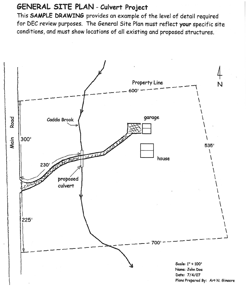 General Site Plan for a Culvert Project NYS Dept of Environmental – Sample Site Plan