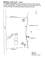 Diagram of a general site plan depicting the details necessary for a permit applicaton for a dock project