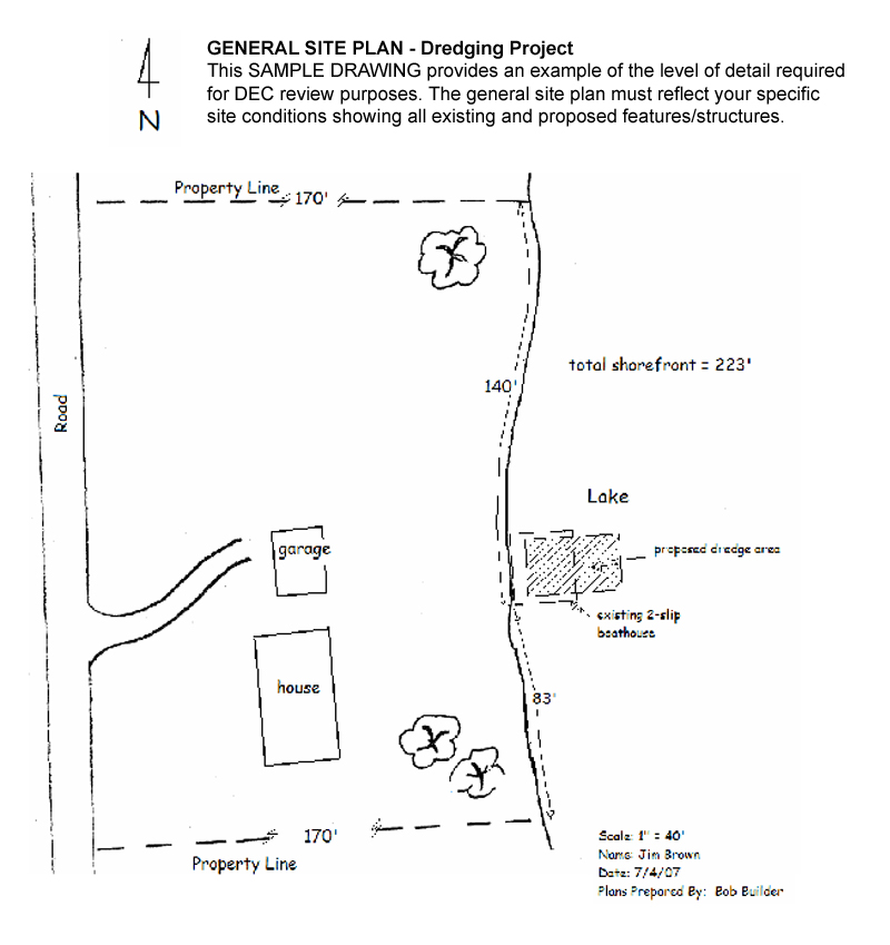 General Site Plan for a Dredging Project NYS Dept of – Site Plan Example