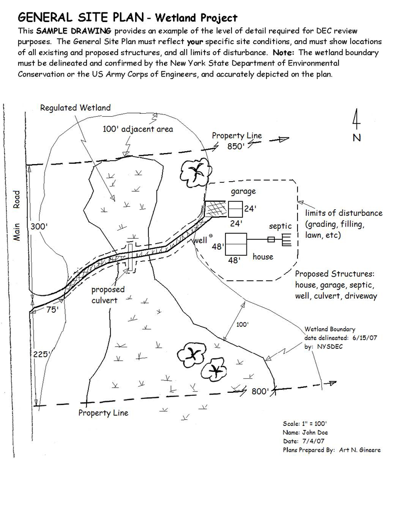 Diagram of general site plan depicting details necessary for a permit application for a wetland permit