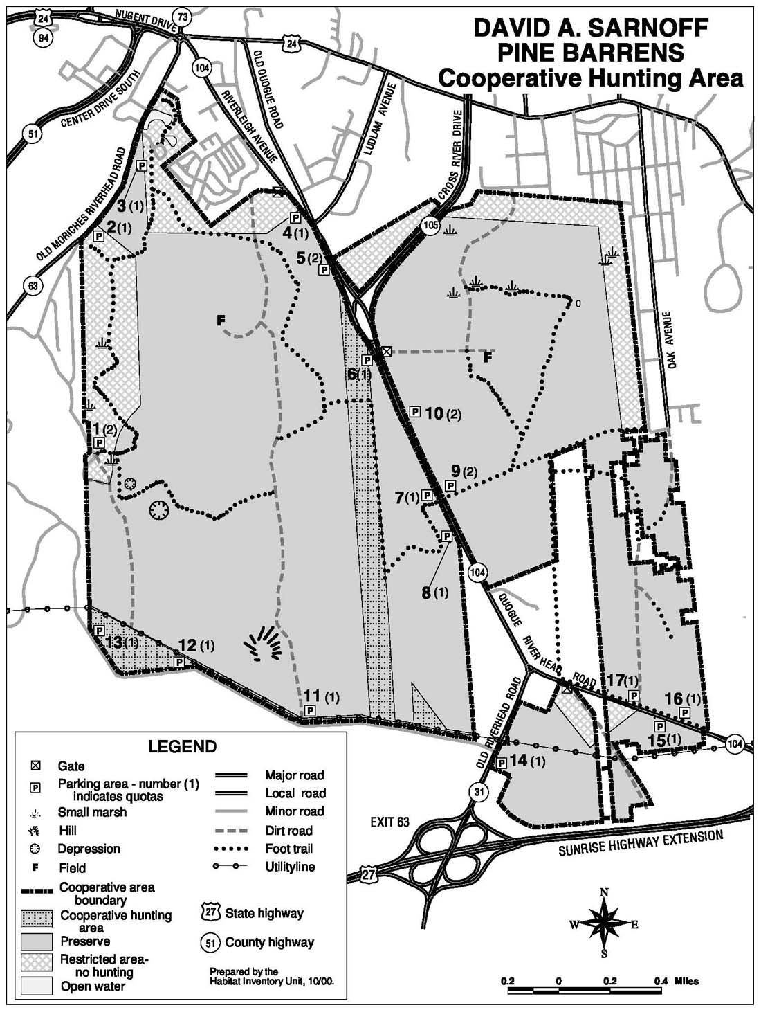 Map of hunting opportunities around the David A Sarnoff Pine Barrens