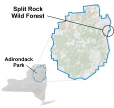 Maps depicting location of the Split Rock Mountain Wild Forest in the Adirondack Park
