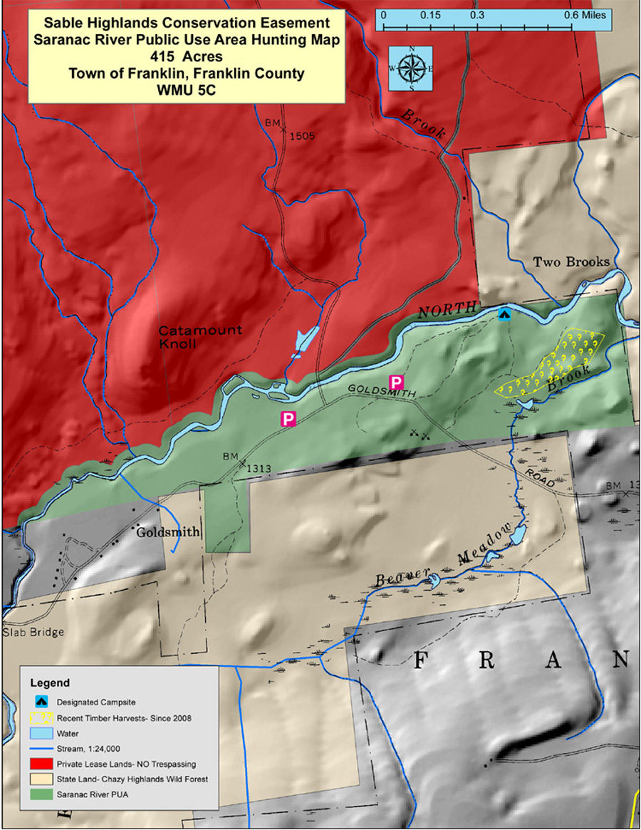Map of the recreational infrastructure and timber harvest areas in the Saranac River Public Use Area