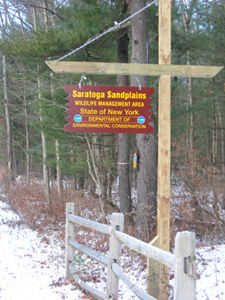 Sign for the Saratoga Sand Plains Wildlife Management Area