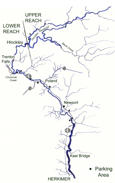 West Of Canada Map.Fishing Map Of The West Canada Creek Hinckley To The Mohawk River