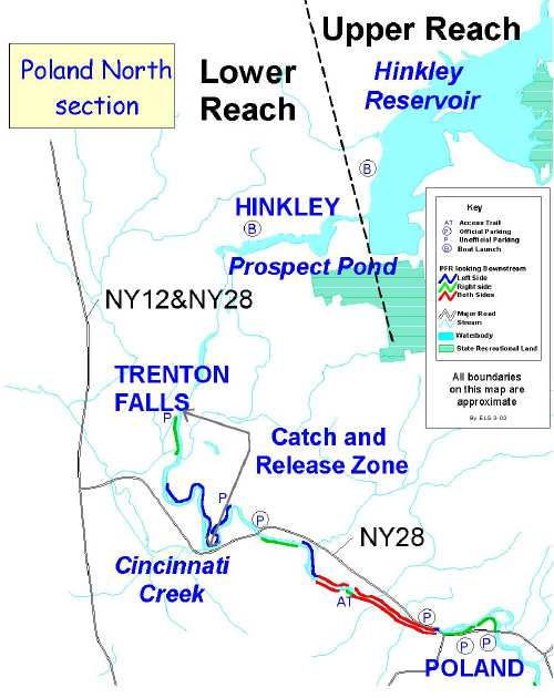 Fishing map of the west canada creek hinckley to poland for Nys dec fishing