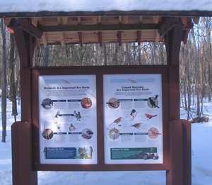 Kiosk with posters describing birds view in Wickham Marsh