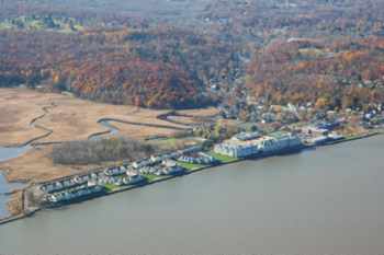 aerial photo of piermont pier and marsh