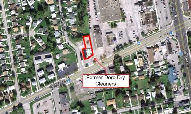 Aerial view of the Former Doro Dry Cleaners site