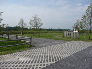 The permeable pavement placed at Harrier Hill Park
