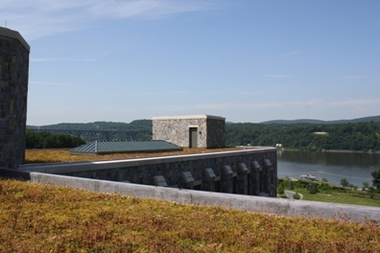 Green roof at Marist College, overlooking the Hudson River