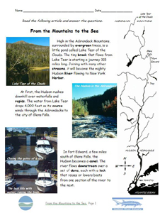 From the Mountains to the Sea ELA lesson plan