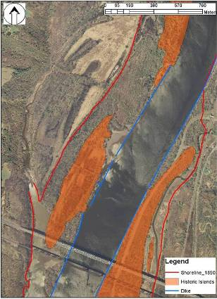 Arial view of the Hudson near Castleton with markings of historical shoreline, island and dike